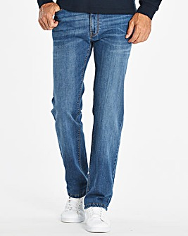 Jacamo Stone Straight Coated Jeans 31in