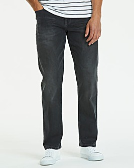 Straight Washed Black Jeans 35 in