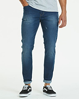 Tapered Washed Indigo Jeans 31 in