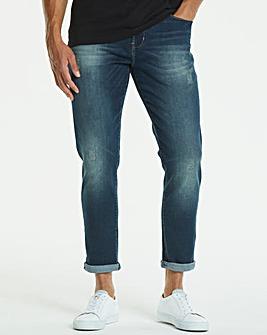 Jacamo Stonewash Tapered Jeans 31in