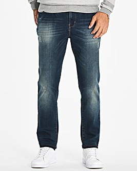 Jacamo Stonewash Tapered Jeans 31in