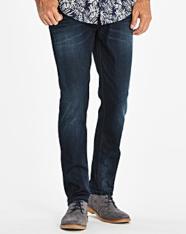 Tapered Coated Indigo Jeans 33 in