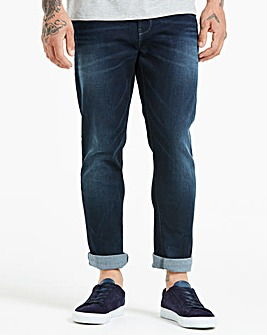 Jacamo Indigo Tapered Coated Jeans 29in