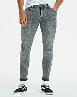 Jacamo Grey Washed Skinny Jeans 29in