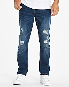 Tapered Ripped Indigo Jeans 29 in