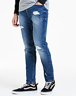 Skinny Ripped Midwash Jeans