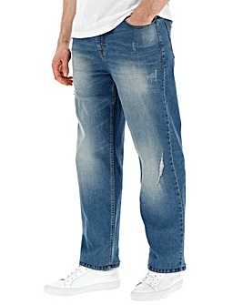 Loose Abraised Midwash Jeans