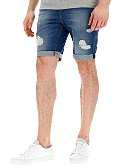 Light Ripped Denim Shorts