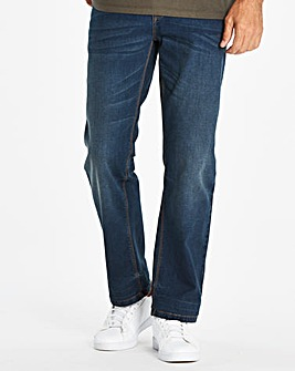Straight Washed Indigo Jeans 31 in