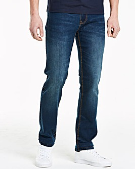 Straight Washed Indigo Jeans 33 in