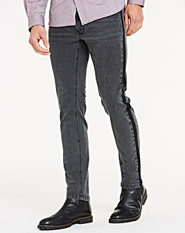 Skinny Side Detail Blackwash Jeans 31 in
