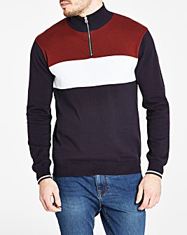 Navy Zip Neck Sports Knit R