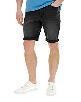 Jacamo Black Slim Abrasion Denim Shorts