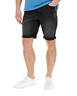 Jacamo Black Slim Abrasion Denim Shorts