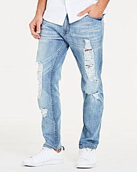 Skinny Ripped Midwash Jeans 31 in