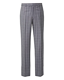 Grey Slim Stretch Check Trousers Long 33 inch