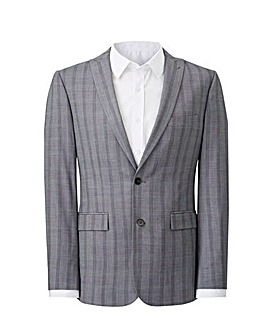 Grey Slim Stretch Checked Jacket Long