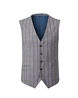Grey Slim Stretch Checked Waistcoat R