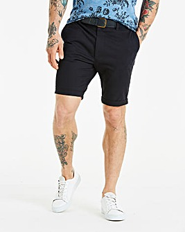 Black Label Belted Smart Stretch Shorts