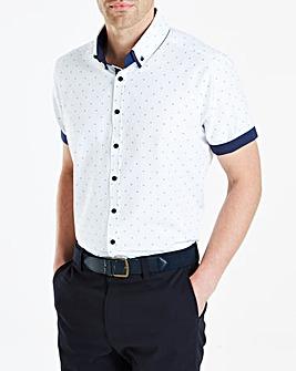 White Print S/S Double Collar Print Shirt Regular