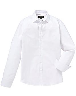 White Smart Textured Formal Shirt Long