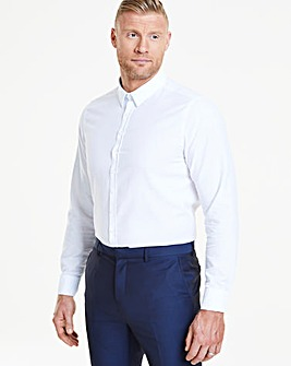 Long Sleeve White Smart Textured Formal Shirt Long