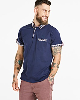 Black Label Navy S/S Check Trim Polo L