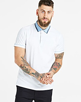 Black Label White S/S Check Trim Polo L