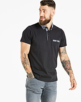 Black Label Black S/S Geo Trim Polo R