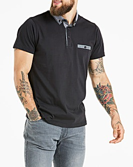 Black Label Black S/S Geo Trim Polo L