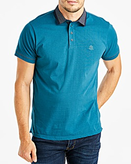 Black Label Teal S/S Geo Trim Polo R