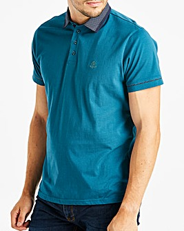 Teal S/S Geo Trim Polo L
