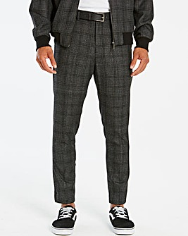Jacamo Grey Slim Belted Check Trouser 31in
