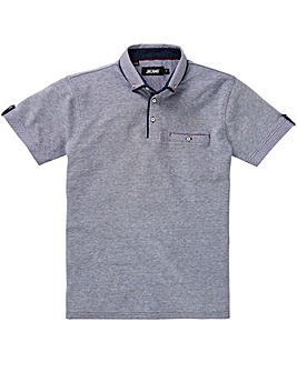 Black Label Blue S/S Check Trim Polo L