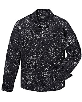 Black Printed L/S Shirt Long