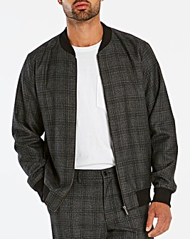Grey Check Bomber Jacket L