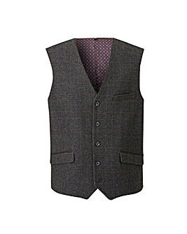 Black Label Grey Check Tweed Waistcoat L