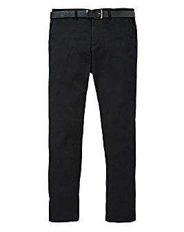 Black Smart Belted Chino 31in