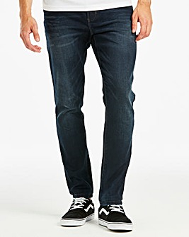 Tapered Coated Indigo Jeans 35 in