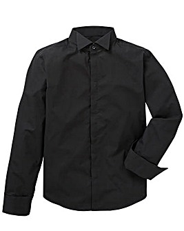 Flintoff By Jacamo Black Wing Collar Formal L/S Shirt Regular