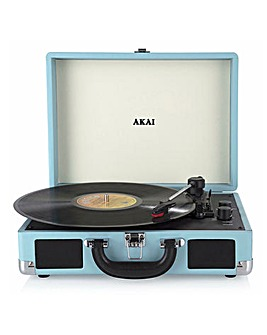 AKAI Suitcase Bluetooth Turntable Blue