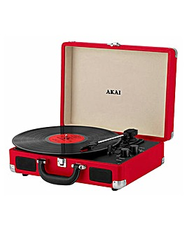 AKAI Suitcase Bluetooth Turntable Red