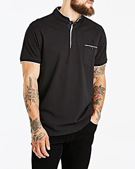 Black S/S Grandad Polo L