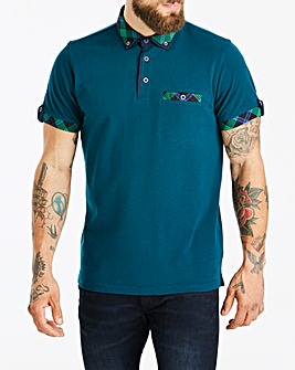 Black Label Green S/S Check Trim Polo L