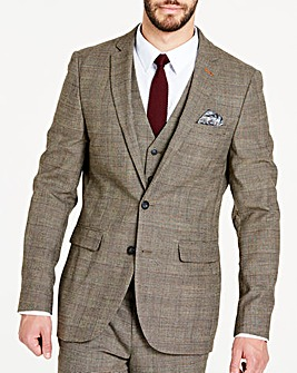 Brown Wool Checked Slim Jacket Long