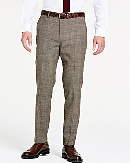 Brown Wool Checked Slim Trousers Short 29 inch