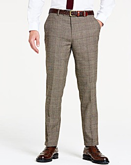 Brown Wool Checked Slim Trousers R