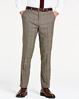 Brown Wool Checked Slim Trousers Long 33 inch