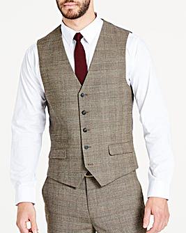 Brown Wool Checked Slim Waistcoat
