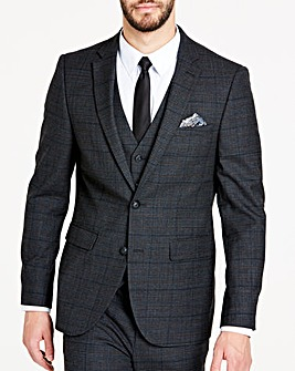 Charcoal Wool Checked Slim Jacket Long